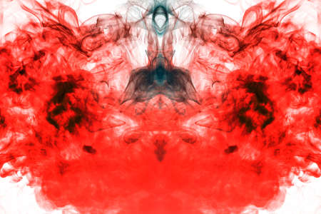 Flaming fire of smoke, rising upwards like a column, repeating the movement of red and orange air, curling and frosting into abstract shapes and patterns on a white background. Banco de Imagens
