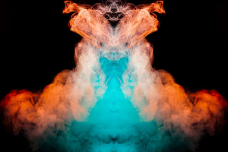 Multicolored curling smoke rising upwards in a pillar, red blue vapor twisting into abstract shapes and patterns on a black background, repeating the movement of waves and a chemical substance. 版權商用圖片