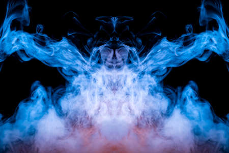 Neon mystical ghostly pattern of blue smoke on a black background depicting several abstract images - the head of aliens from a horror movie.
