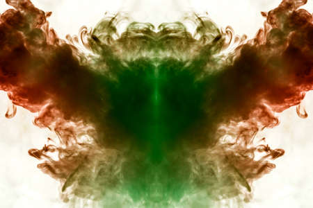 Symmetrical pattern of dark green and burgundy red color on a white isolated background in the form of a mystical animal or ghost made with the help of smoke Stock Photo
