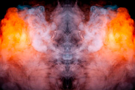 A fiery drawing of evaporating vapus smoke on a black background awe-inspiring a drawn head of a mystical creature in flames of yellow orange and red. Reklamní fotografie
