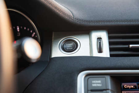 Novosibirsk, Russia - 03.10.2019: View to the interior of Land Rover Evoque with dashboard, start-stop button after cleaning before sale on parking