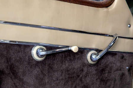 Vintage retro car door dashboard with analog handle and switch for winbow of leather and carpet trim, handmade with wood and chrome for restoration