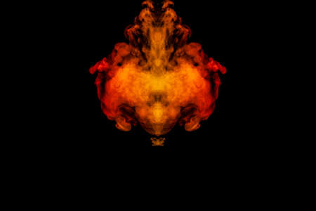 A blob of red and orange smoke in the form of a wavy pattern in the center of the frame depicting the head of a monster or an animal with eyes, not like a ghost or an animal