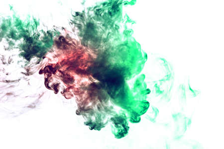 Colored background with winding clouds of smoke from patterns of different forms of red, green colors with tongues of flame on a white isolated background as ink or poison