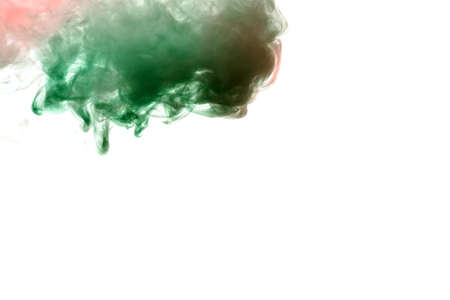 Spot clouds of smoke and patterns texture of different forms of red and green colors with tongues of flame on a white isolated background. Print for t-shirt. Toxic ink.