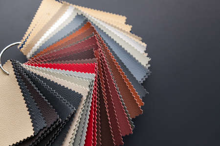 A catalog with samples of genuine leather materials in different colors for the manufacture of designer clothes, shoes and accessories. Stok Fotoğraf