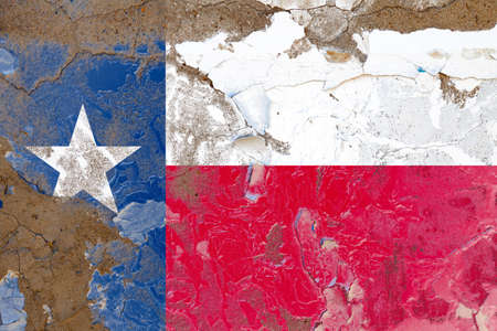 Texas grunge, damaged, scratch, old style state USA flag on wall.