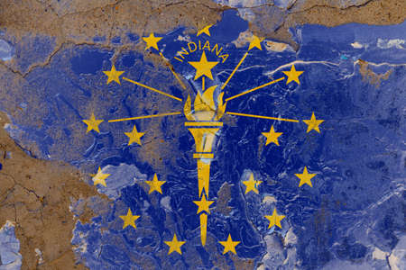 Indiana grunge, damaged, scratch, old style state flag on wall. Stockfoto