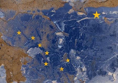 Alaska grunge, damaged, scratch, old style state flag on wall.