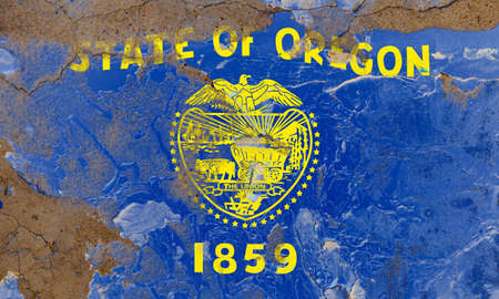 Oregon grunge, damaged, scratch, old style state flag on wall. Stockfoto