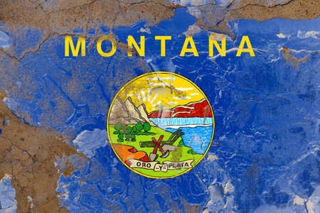 Montana grunge, damaged, scratch, old style state flag on wall.