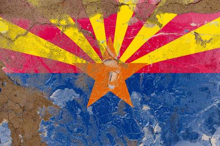 Arizona grunge, damaged, scratch, old style state flag on wall.