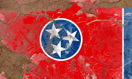 Tennessee grunge, damaged, scratch, old style state USA flag on wall.