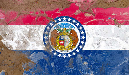 Missouri grunge, damaged, scratch, old style state flag on wall.