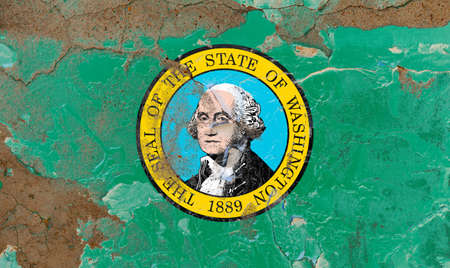 Washington grunge, damaged, scratch, old style state USA flag on wall.