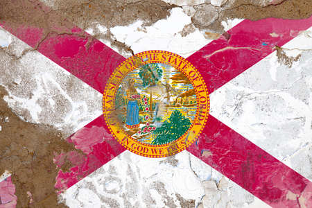 Florida grunge, damaged, scratch, old style state flag on wall.