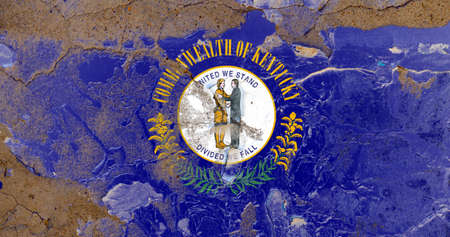 Kentucky grunge, damaged, scratch, old style state flag on wall.