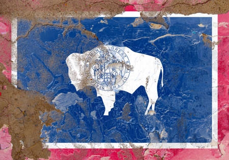 Wyoming grunge, damaged, scratch, old style state USA flag on wall.