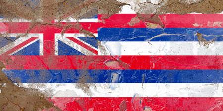Hawaii grunge, damaged, scratch, old style state flag on wall.