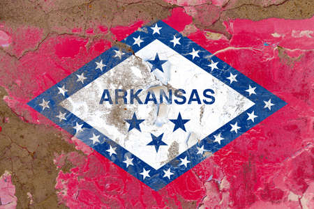 Arkansas grunge, damaged, scratch, old style state flag on wall. Stockfoto