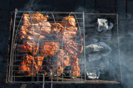 Close-up on the process of cooking shashlik of pork or beef meat clamped in a grill with a crispy burnt crust over gray burnt coals on an open fire with smoke going up. Stock Photo