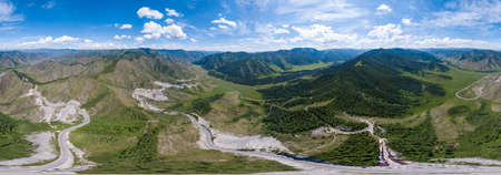 Aerial panoramic view of planet earth near a Chike-Taman pass in the Altai mountains with green trees, Blue sky and clouds. Full VR 360 Degree Aerial Panorama Seamless Spherical Imagens