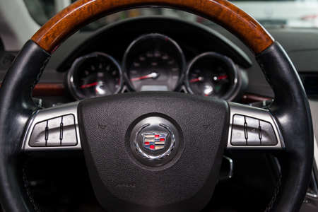 Novosibirsk, Russia - 02.05.2020: The interior of the car Cadillac CTS with a view of the dashboard, steering wheel, front seats after cleaning before sale on parking Editorial
