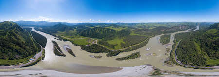 Aerial  panoramic view of planet earth above river Katun in the Altai mountains with green trees, Blue sky and clouds. Full VR 360 Degree Aerial Panorama Seamless Spherical.