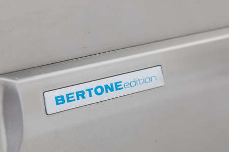 Novosibirsk, Russia - 02.18.2020: A sticker with the inscription Bertone Edition on a car for racing and off-road