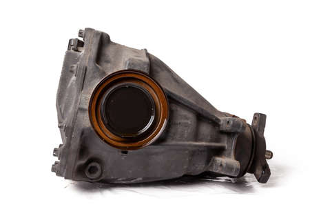 Iron gearbox of a car is a transmission unit that takes over the torque from the engine crankshaft and, reducing it, passes on. Repair unit or spare part for sale.