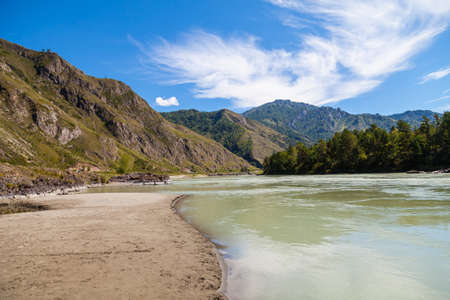 The coastline of the Katun River in Altai with a sandy beach on a summer day against the backdrop of mountains and blue sky. 版權商用圖片