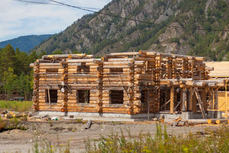 A large log house during construction. Large sawn round pines are stacked to prepare the production of building materials and the construction of a house and buildings.