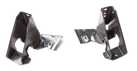 Metal bracket - a supporting part or structure used to mount car elements on a white isolated background in a photo studio. Spare parts for replacement or sale in a car service.