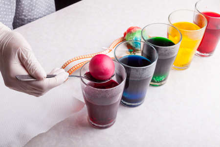 Transparent glasses with multi-colored dyes lined up on the kitchen table for dyeing boiled eggs dipping with a spoon. 写真素材