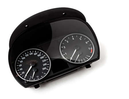 The dashboard of the car with white arrows with a speedometer, tachometer and other tools to monitor the condition of the vehicle in modern style on white isolated background