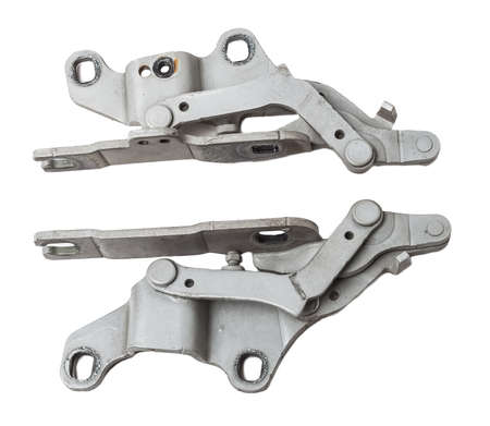 Pair of hinges for attaching the hood or trunk of the car on a white isolated background. Auto parts for catalog and repair of vehicles.