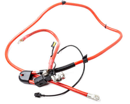 Automotive wiring harness with positive battery terminal and squib for disconnection in case of an accident. Vehicle security systems. Stock fotó - 167331494