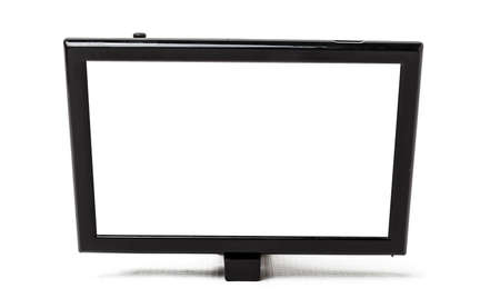 Touchscreen monitor for displaying navigation, rear view camera and car multimedia on a white isolated background. Audio and video electronics for transport