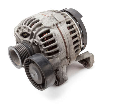 Car generator on white isolated background. Spare parts catalog. Stok Fotoğraf