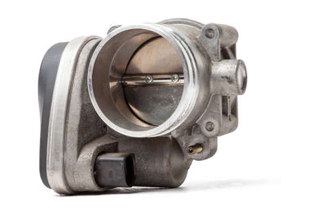 car part engine throttle valve opened by the gas pedal to supply more air to the engine. spare parts catalog for vehicles from the junkyard. Stok Fotoğraf