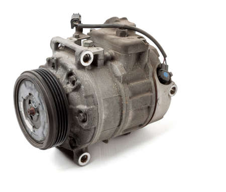 car spare part air conditioning compressor - pump for supplying freon under pressure to the climate control system to cool the air in hot summer. Spare parts catalog from junkyard.