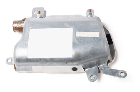 Spare part and interior element from a car side airbag in the door on a white isolated background. Auto service industry.