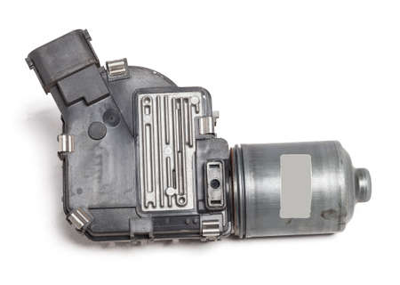 Wiper mechanism electric motor - with a reducer that returns the brushes to their place, as well as the levers and the brushes themselves, operate with a washer that provides water to the glass. Stok Fotoğraf