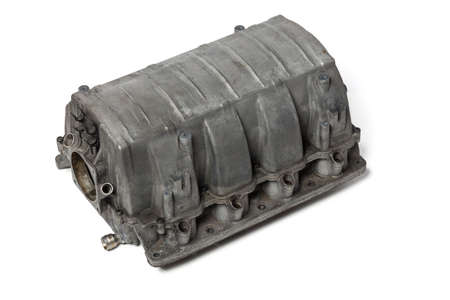 Intake manifold metal housing with a system for adjusting the air flow to the engine. Repair and replacement of spare parts of vehicles in a car service. Stok Fotoğraf