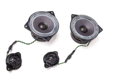 three-way speaker system, coaxial speaker, car audio music, subwoofer and tweeter on white isolated background. Top view