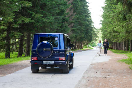 Mercedes-Benz G-Class (G 500) on the road Novosibirsk, Russia - 06.19.2021: Mercedes-Benz G 55 on the road in the forest. The G-Class is the one of the most luxury SUV vehicles in the world.