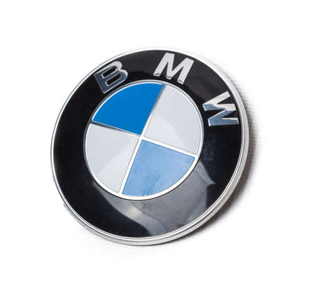 Novosibirsk, Russia - 07.15.21: BMW badge on a white background, close up.