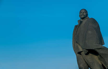 lenin: Monument of Lenin on a background of blue sky in Novosibirsk Editorial