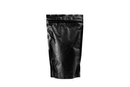 Black bag isolated of coffee on a white background Stockfoto